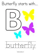 Butterfly starts with  Coloring Page