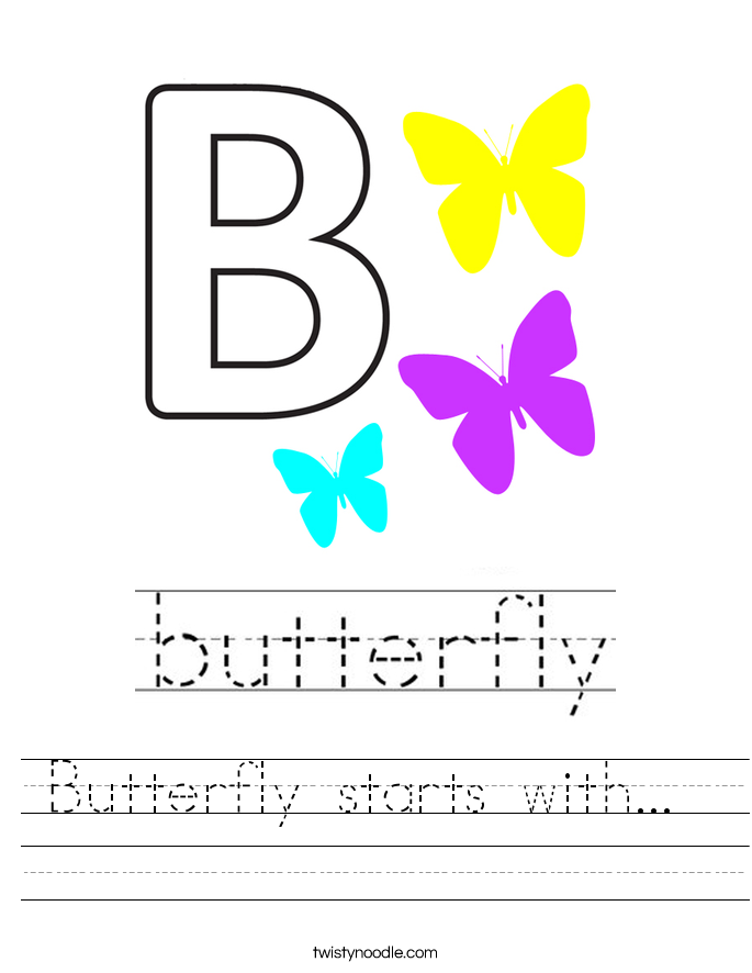 Butterfly starts with...  Worksheet
