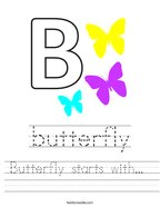 Butterfly starts with  Handwriting Sheet