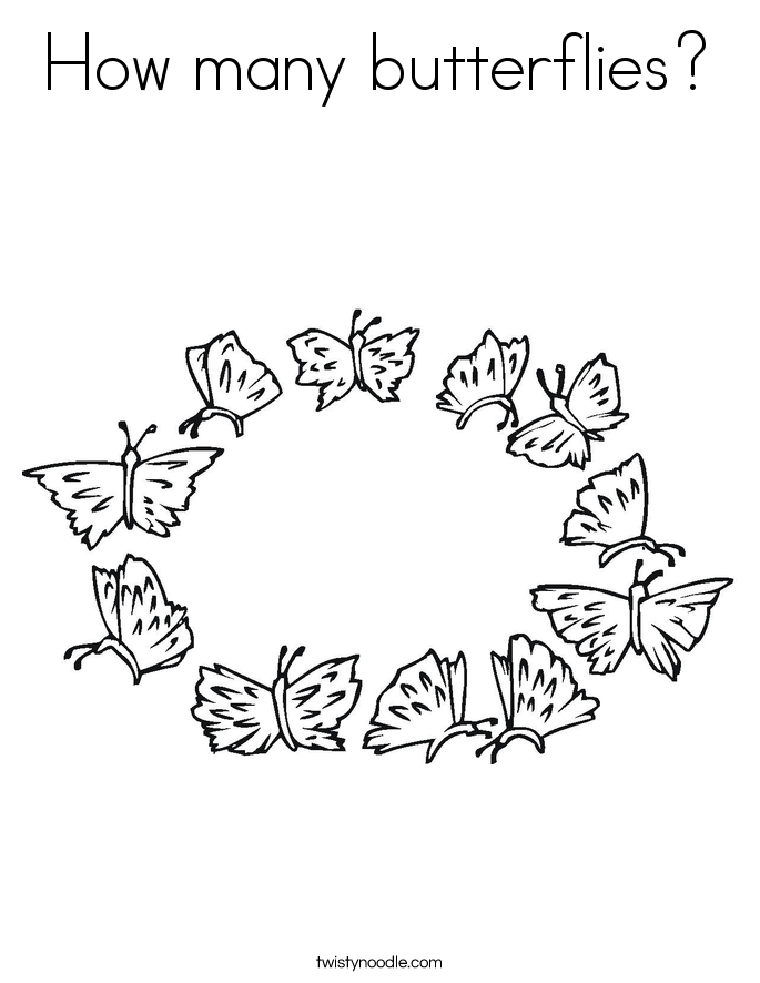 How many butterflies? Coloring Page