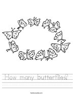 How many butterflies Handwriting Sheet