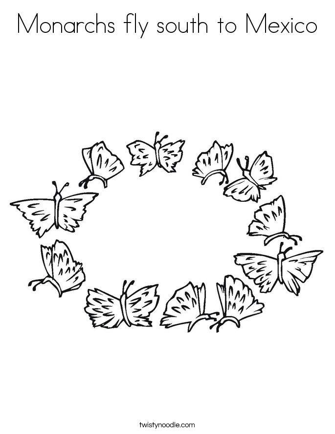 Monarchs fly south to Mexico Coloring Page