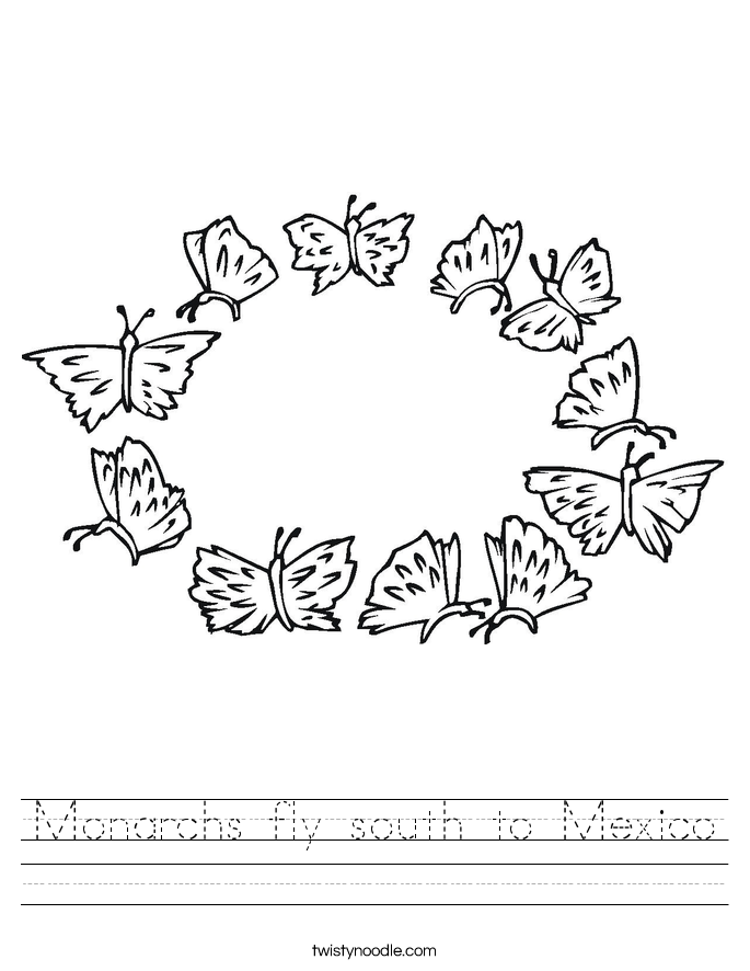 Monarchs fly south to Mexico Worksheet