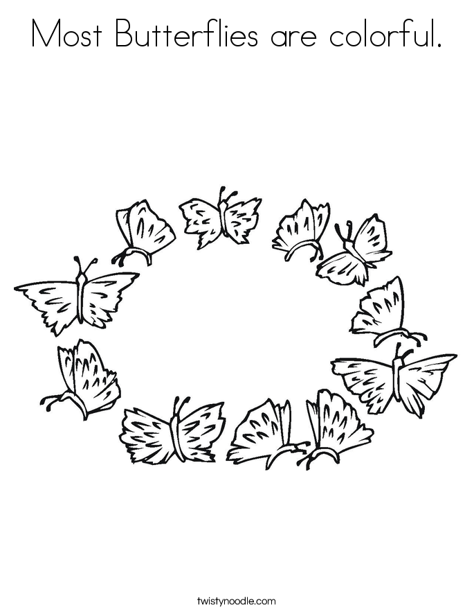 Most Butterflies are colorful. Coloring Page