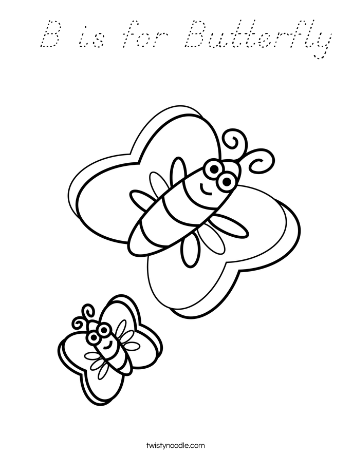 b for butterfly coloring pages - photo#13