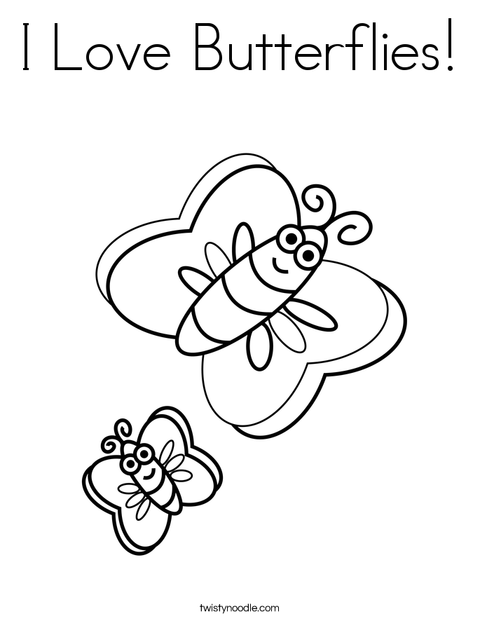 I Love Butterflies! Coloring Page