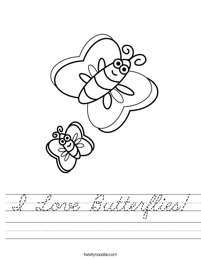I Love Butterflies! Worksheet