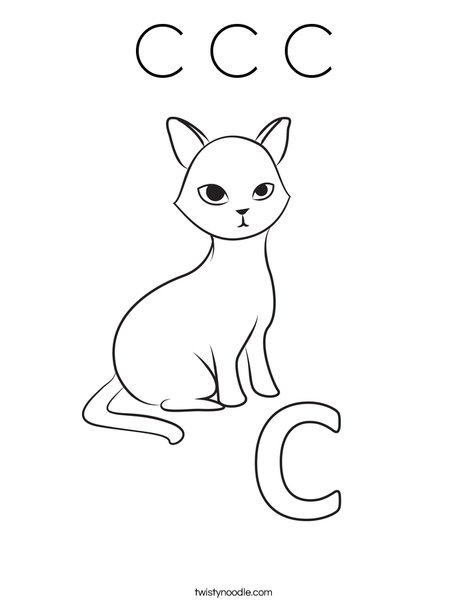 C Cat Coloring Page