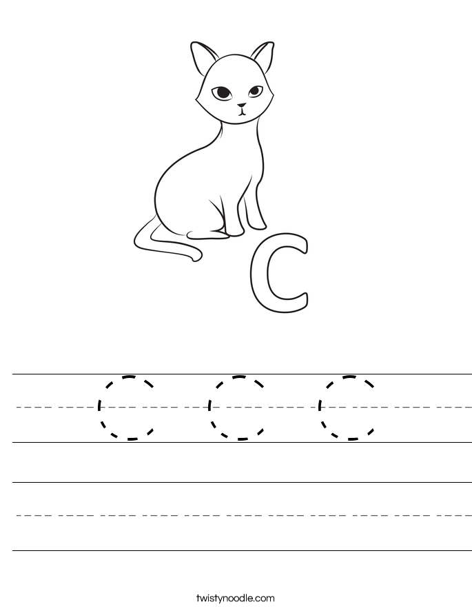 Printables Letter C Worksheets Preschool letter c worksheets twisty noodle handwriting sheet