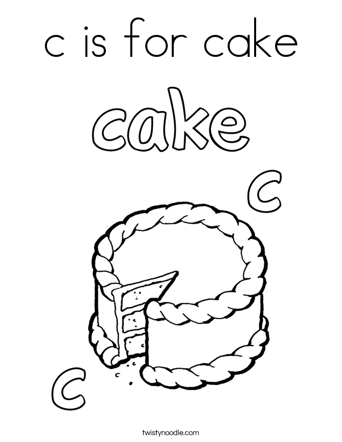 Cake Coloring Pages Twisty Noodle - cake color page