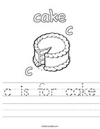 c is for cake Handwriting Sheet