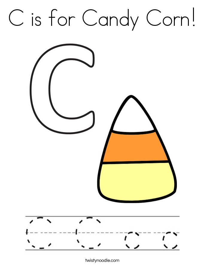 Simple C Is For Candy Corn Coloring Page With Candy Corn