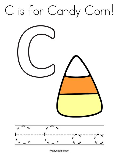 C is for Candy Corn Coloring Page - Twisty Noodle