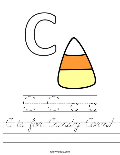 C is for Candy Corn Worksheet
