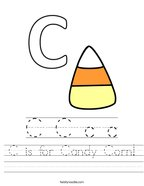 C is for Candy Corn Handwriting Sheet