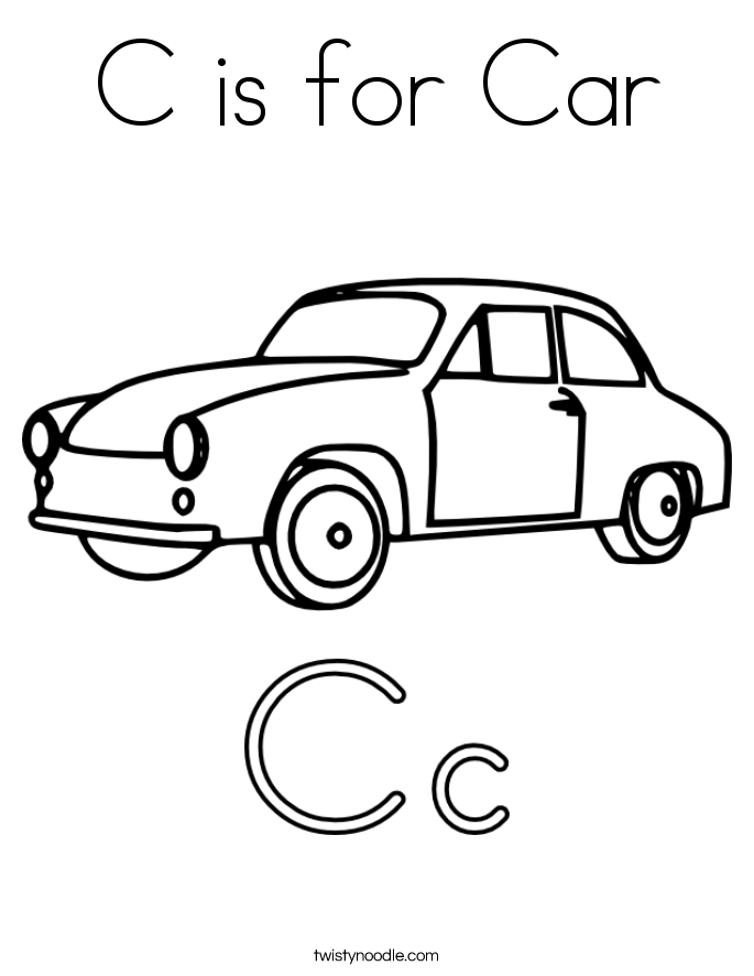 C Is For Car Coloring Page.