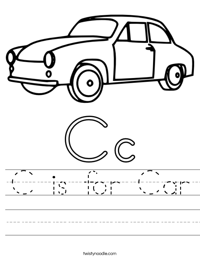 C is for Car Worksheet