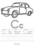 C is for Car Worksheet
