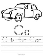 C is for Car Handwriting Sheet