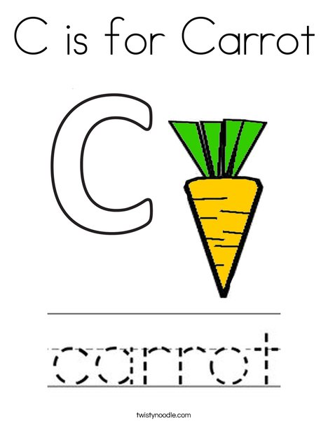 C is for Carrot Coloring Page