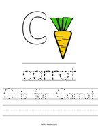 C is for Carrot Handwriting Sheet