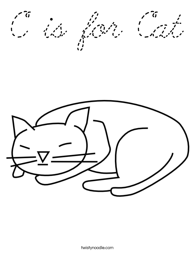 C is for cat coloring page cursive twisty noodle for C for cat coloring page