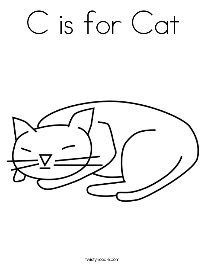 C is for Cat Coloring Page