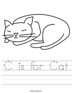 C is for Cat Handwriting Sheet