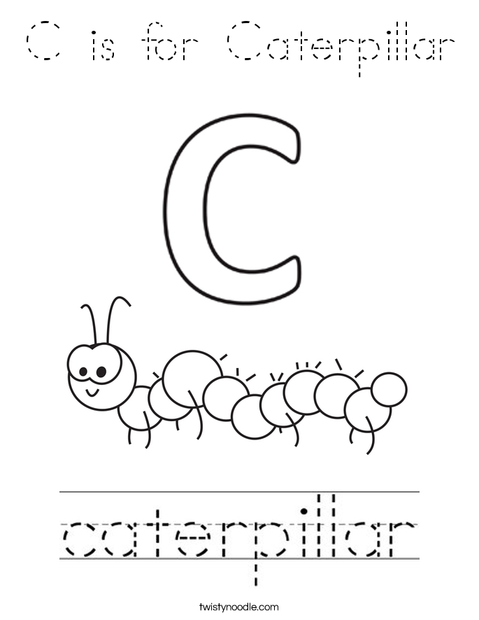 C is for Caterpillar Coloring Page