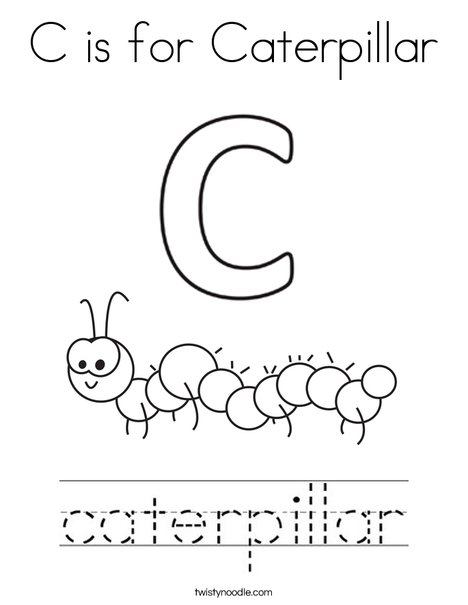 caterpillars coloring pages C is for Caterpillar Coloring Page   Twisty Noodle caterpillars coloring pages