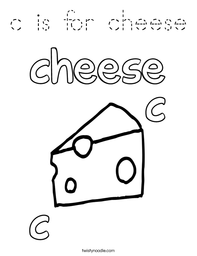 C Is For Cheese Coloring Page Tracing Twisty Noodle