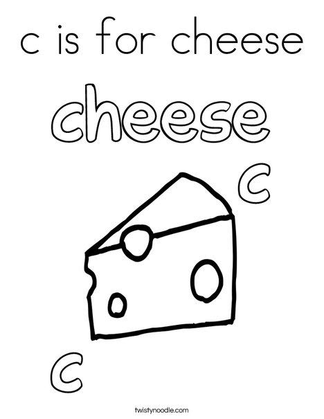 c is for cheese Coloring Page Twisty Noodle