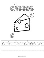 c is for cheese Handwriting Sheet