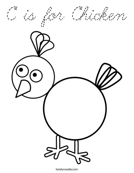 C is for Chicken Coloring Page