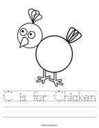 C is for Chicken Handwriting Sheet