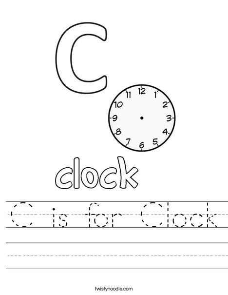 C is for Clock Worksheet