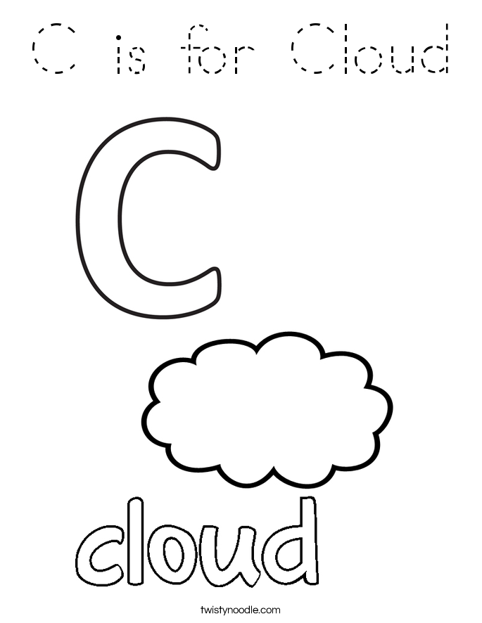 c is for cloud coloring page - tracing