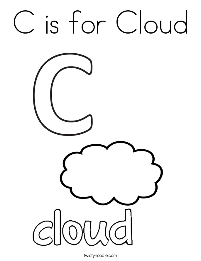 C is for cloud coloring page twisty noodle for Letter c color page