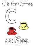 C is for Coffee Coloring Page