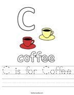 C is for Coffee Handwriting Sheet
