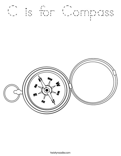 C is for Compass Coloring Page