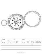 C is for Compass Handwriting Sheet