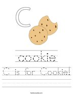C is for Cookie Handwriting Sheet