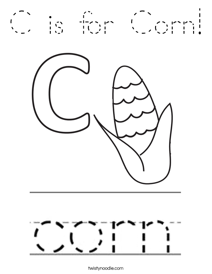 C is for Corn! Coloring Page