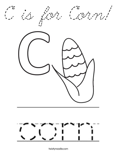 C is for Corn Coloring Page