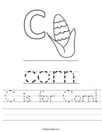 C is for Corn Handwriting Sheet