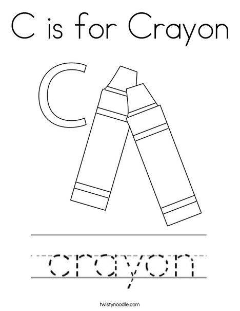 C is for Crayon Coloring Page - Twisty Noodle