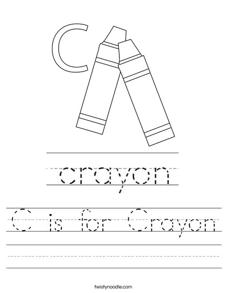C is for Crayon Worksheet