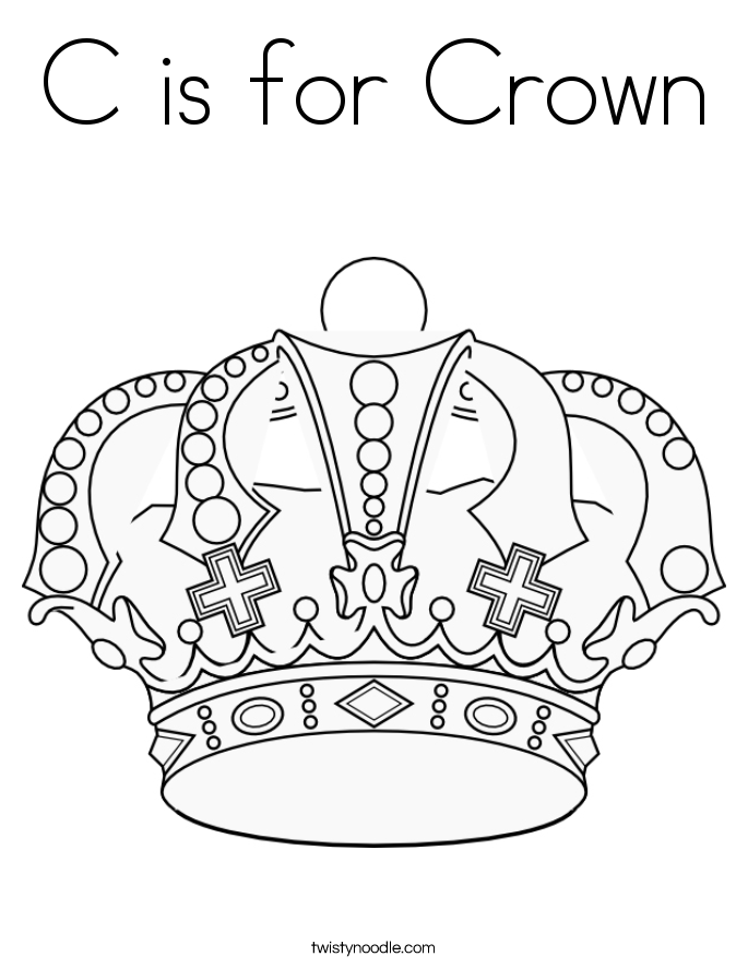 c is for crown coloring page - C Coloring Sheet