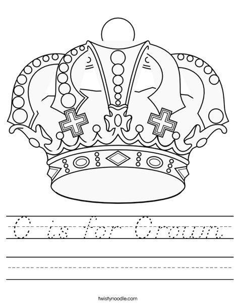 C is for Crown Worksheet